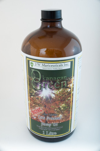 Okanagan Green Hemp Oil - 1L Bottle, Limited Edition Glass